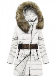 Dámska bunda s kapucňou a opaskom X1213X biela