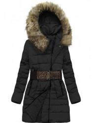 Dámska bunda s kapucňou a opaskom X1213X čierna