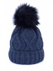 Dámska čiapka s brmbolcom, modrá