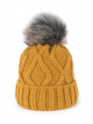 Dámska čiapka s brmbolcom, žltá