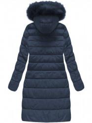Dámska dlhá zimná bunda 7754BIG, tmavo modrá