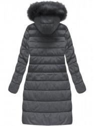 Dámska dlhá zimná bunda 7754BIG, tmavo sivá