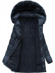 Dámska dlhá zimná bunda B1023-30, modrá
