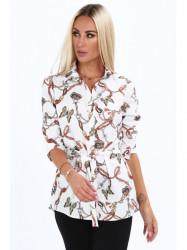 Dámska košeľa s viazaním v páse 20840, biela