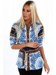 Dámska košeľa so vzormi 20760, modrá