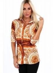 Dámska košeľa so vzormi 20760, oranžová