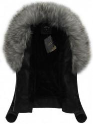 Dámska koženka s kožúškom LD5511BIG, čierna/šedá
