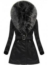 Dámska koženková bunda 5518 čierno-sivá