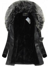 Dámska koženková bunda 5518BIG, čierno-sivá