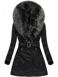 Dámska koženková bunda 5518BIG, čierno-sivá #2