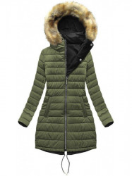 Dámska obojstranná zimná bunda W210, čierna/khaki