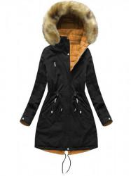 Dámska obojstranná zimná bunda W210, čierna/žltá #7
