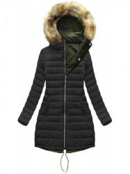 Dámska obojstranná zimná bunda W210, khaki/čierna