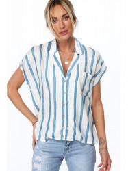 Dámska oversized košeľa MP26331, modrá