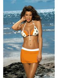 Dámska plážová sukňa Meg M-266 oranžovo-biela (296)