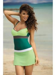 Dámska plážová sukňa Meg M-266 zeleno-biela (297)
