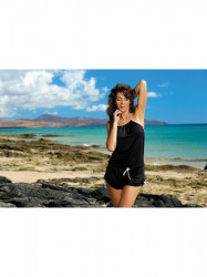 Dámska plážová tunika Leila M-312 čierna (293)