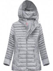 Dámska prešívaná bunda s kapucňou XW262BIGX šedá