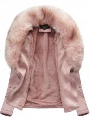 Dámska semišová bunda s kožúškom 6501, ružová