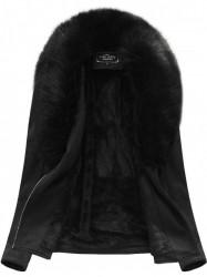 Dámska semišová bunda s kožúškom 6501BIG, čierna