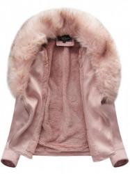 Dámska semišová bunda s kožúškom 6501BIG, ružová