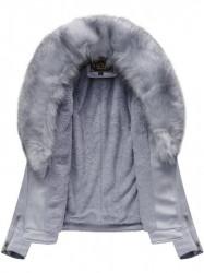 Dámska semišová bunda s kožúškom 6502, fialová