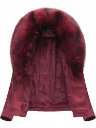 Dámska semišová bunda s kožúškom 6502BIG, bordová