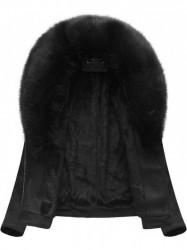 Dámska semišová bunda s kožúškom 6502BIG, čierna