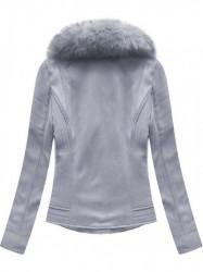 Dámska semišová bunda s kožúškom 6502BIG, fialová #1