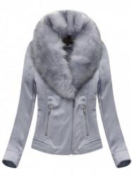 Dámska semišová bunda s kožúškom 6502BIG, fialová #4