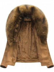 Dámska semišová bunda s kožúškom 6502BIG, hnedá 1