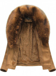 Dámska semišová bunda s kožúškom 6502BIG, hnedá 2