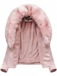 Dámska semišová bunda s kožúškom 6502BIG, ružová