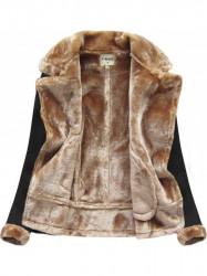 Dámska semišová teplá bunda 1808, čierna
