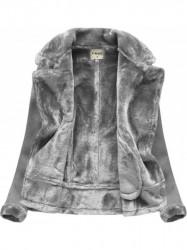 Dámska semišová teplá bunda 1808, sivá