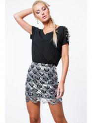 Dámska sukňa so vzormi ZZ219, strieborná