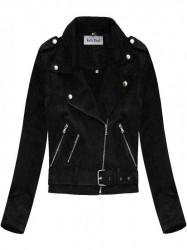 Dámska zamatová bunda 3Y125, čierna