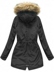 Dámska zimná bunda s kapucňou 7312, čierna