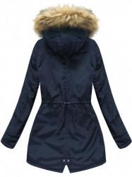 Dámska zimná bunda s kapucňou 7312, modrá