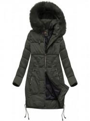 Dámska zimná bunda s prešívaním 7690BIG khaki