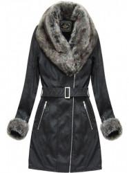 Dámska zimná koženková bunda 5524, čierna