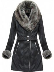 Dámska zimná koženková bunda 5524BIG, čierna