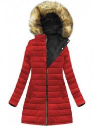 Dámska zimná obojstranná bunda W213, čierna/červená