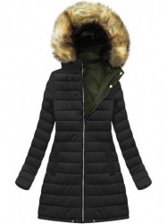 Dámska zimná obojstranná bunda W213, khaki/čierna