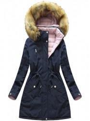 Dámska zimná obojstranná bunda W213, modrá/ružová