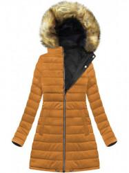 Dámska zimná obojstranná bunda W213BIG, čierna/žltá