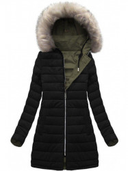 Dámska zimná obojstranná bunda W631, khaki/čierna