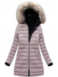 Dámska zimná obojstranná bunda W631, modrá/ružová