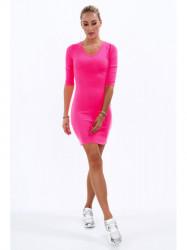 Dámske bavlnené šaty 2093, neónovo ružové
