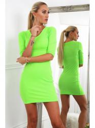 Dámske bavlnené šaty 2093, neónovo zelené